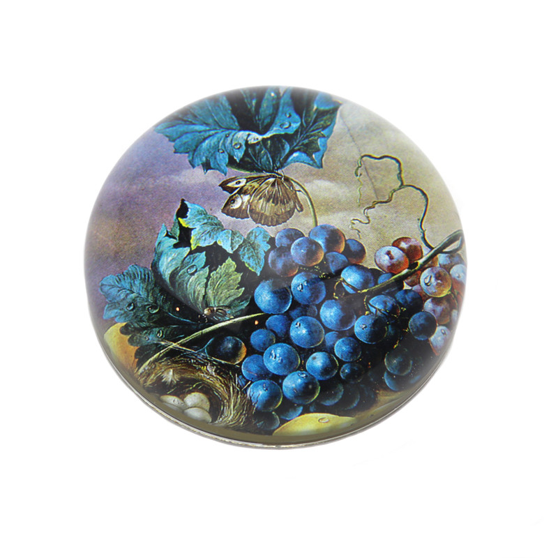 Blue Grapes with Nest Crystal Dome Paperweight
