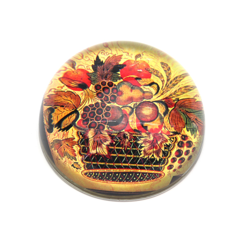 Basket of Fruit Crystal Dome Paperweight