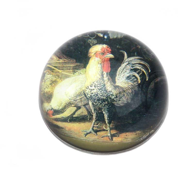 Rooster Crystal Dome Paperweight