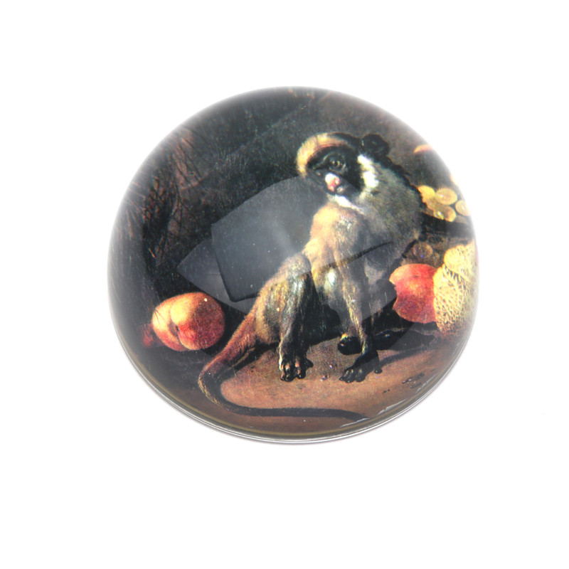 Monkey with Melon Crystal Dome Paperweight