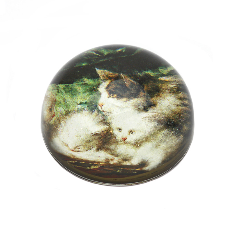 Fancy Cats Crystal Dome Paperweight