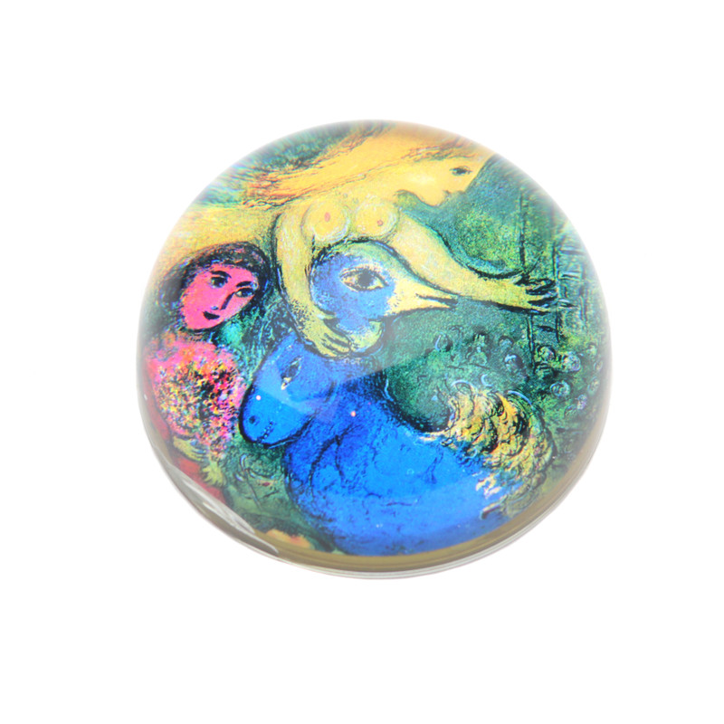 Blue Chagall Crystal Dome Paperweight