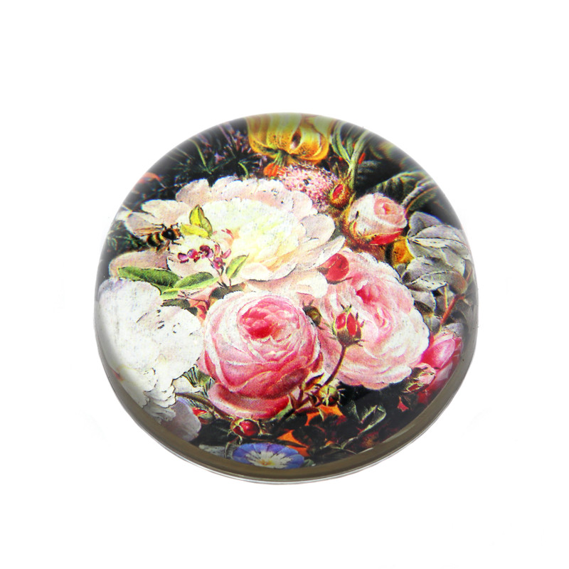 Mixed Floral Roses Crystal Dome Paperweight