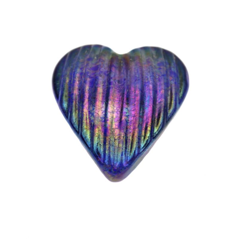 Heart Paperweight Iridescent Cobalt Blue