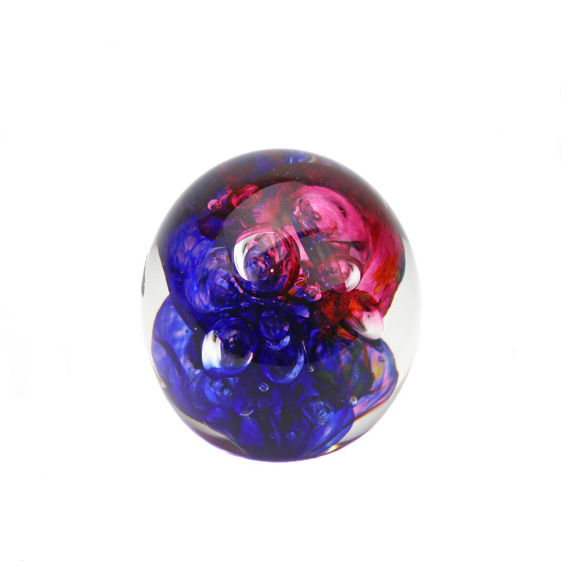 Ribbons Paperweight Ruby Blue