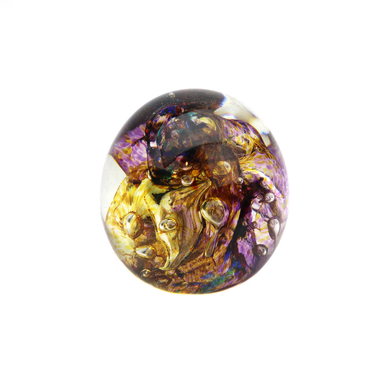 Ribbons Paperweight Amber Violet
