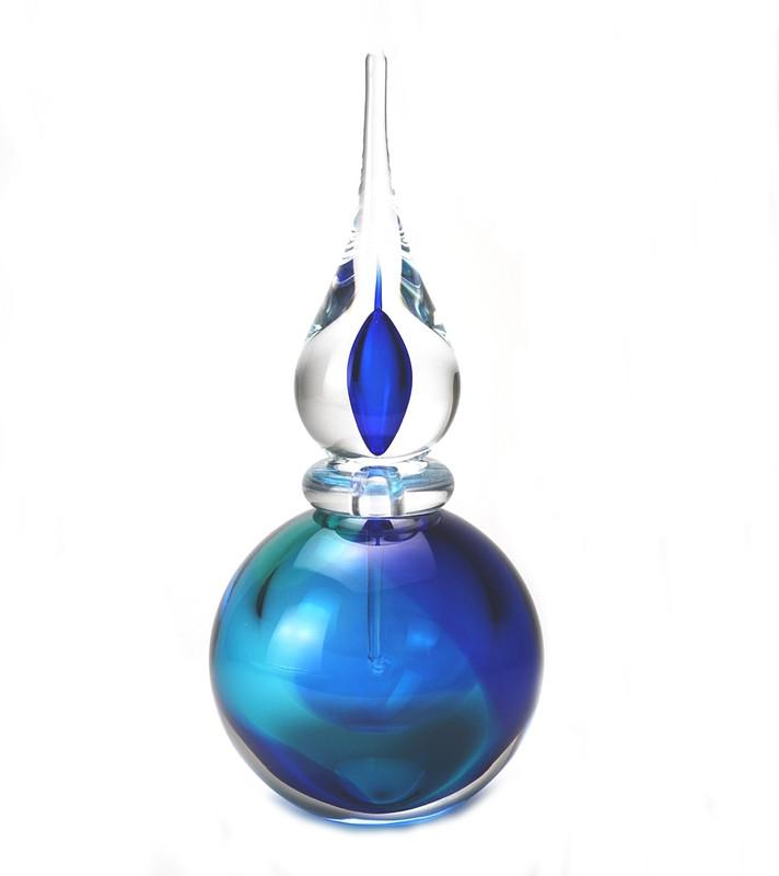 Murano Glass Asti Perfume Bottle Aqua Blue
