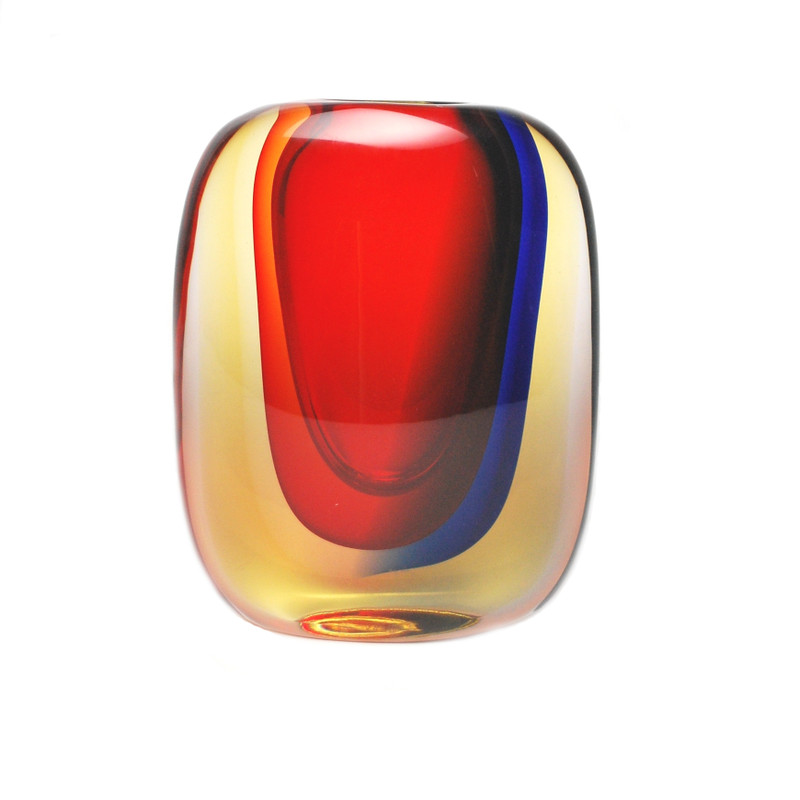 Murano Glass Salerno Vase Red Blue Amber