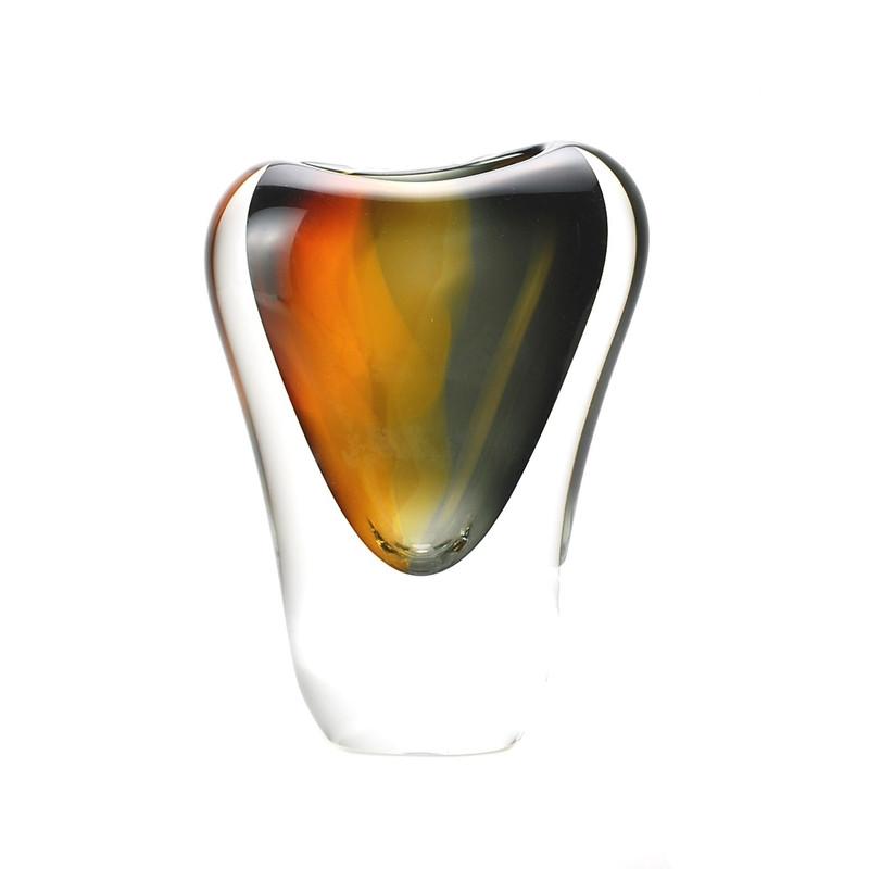 Murano Glass Design Crystal Veneto Vase Amber Smoke