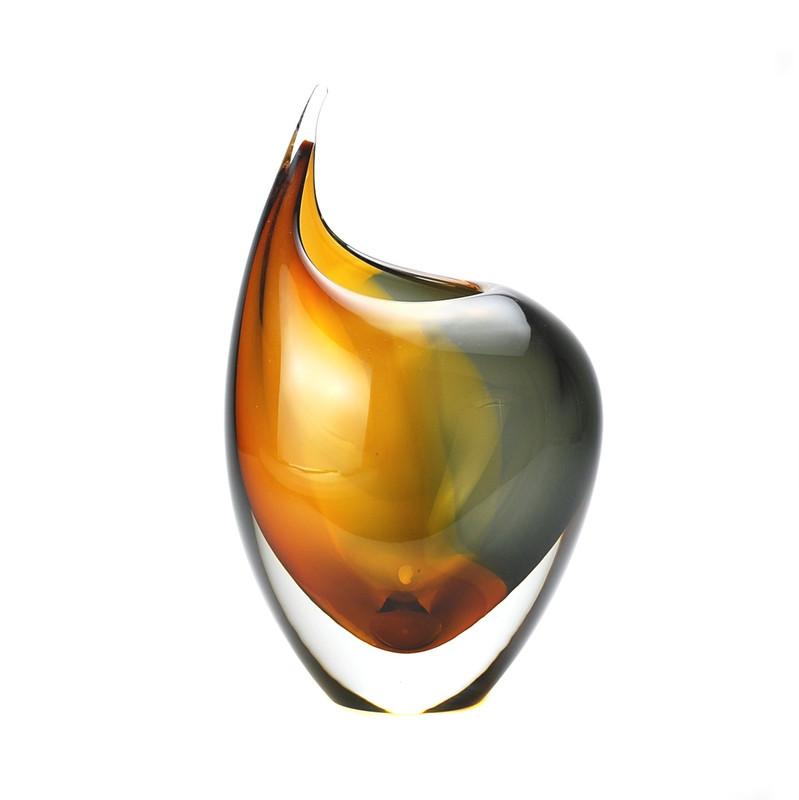 Murano Glass Design Crystal Toscana Vase Amber Smoke