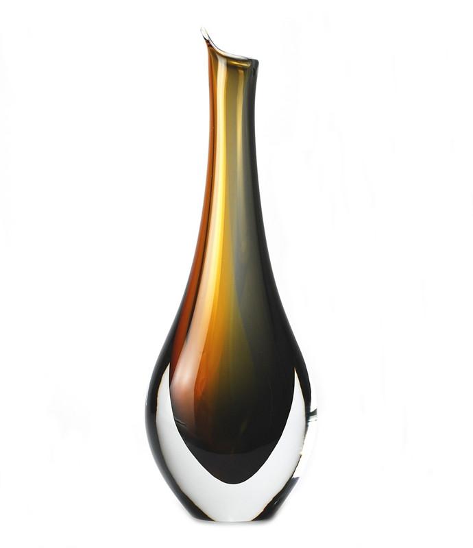 Murano Glass Piemonte Vase Amber Smoke