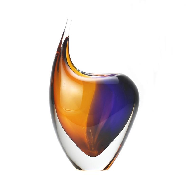 Murano Glass Design Crystal Toscana Vase Topaz Amethyst
