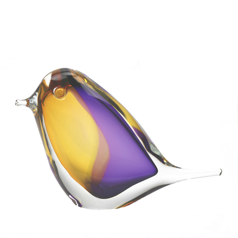 Murano Glass Design Crystal Bird Topaz Amethyst