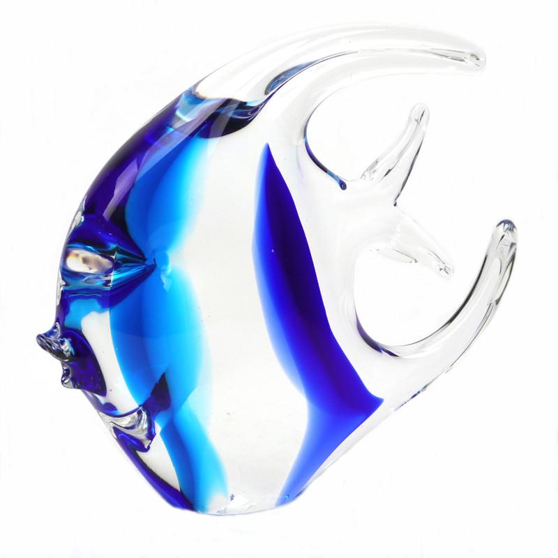 Murano Glass Moon Fish Aqua Blue