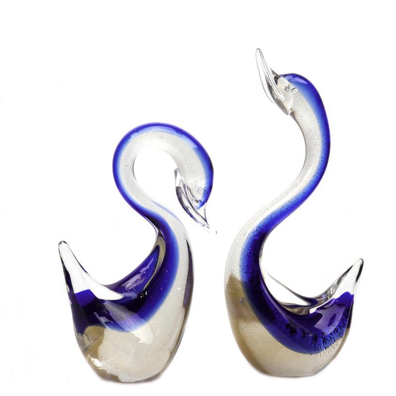 Murano Glass Swan Pair Blue Gold