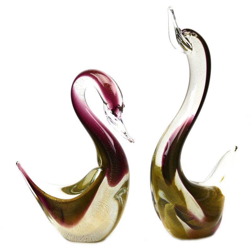 Murano Glass Swan Pair Ruby Gold