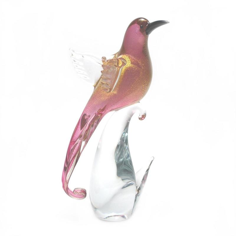 Murano Glass Bird Ruby Gold