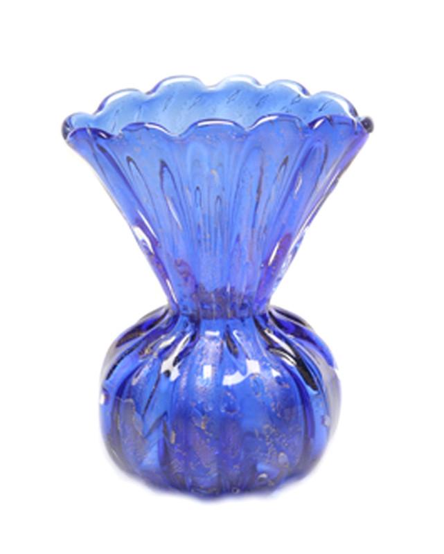 Murano Glass Peacock Vase Cobalt Blue Gold