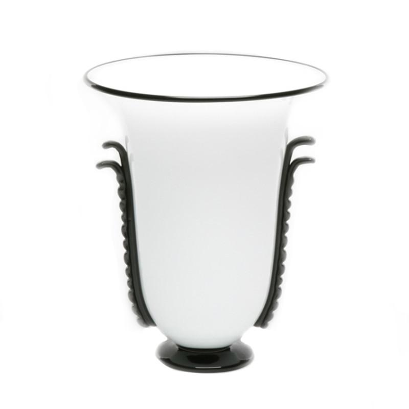 Murano Glass Viking Vase Opal Black