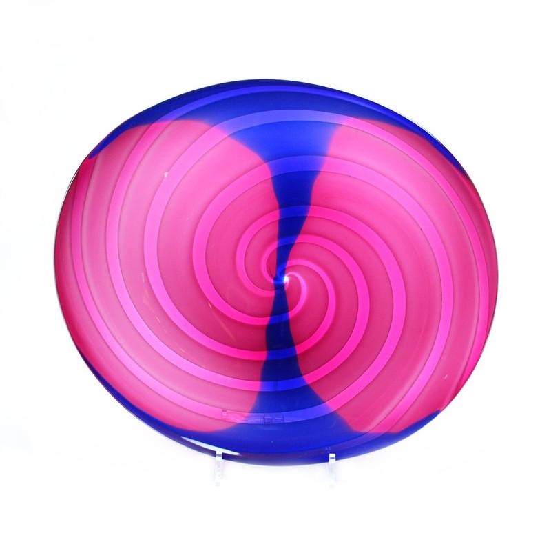Murano Glass Centerpiece Plate Ruby Blue