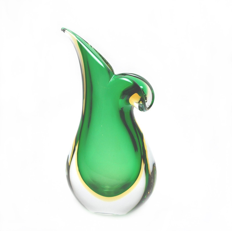 Murano Glass Vase Green Amber