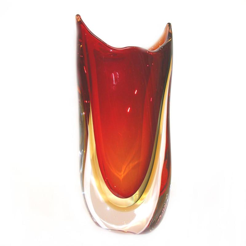 Murano Glass Vase Red Smoke Amber