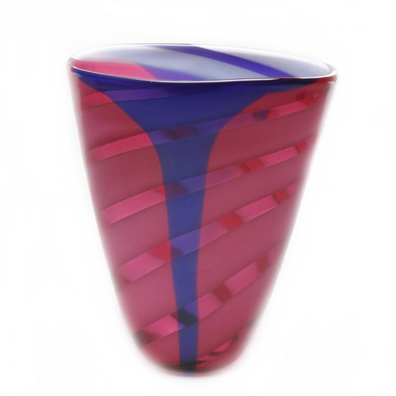 Murano Glass Harlequin Vase Ruby Blue