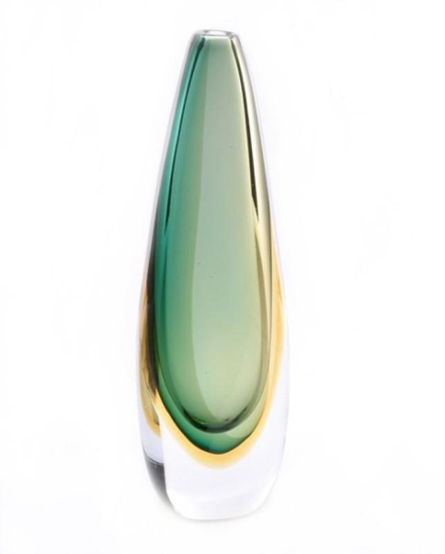 Murano Glass Vase Green/Smoke/Amber