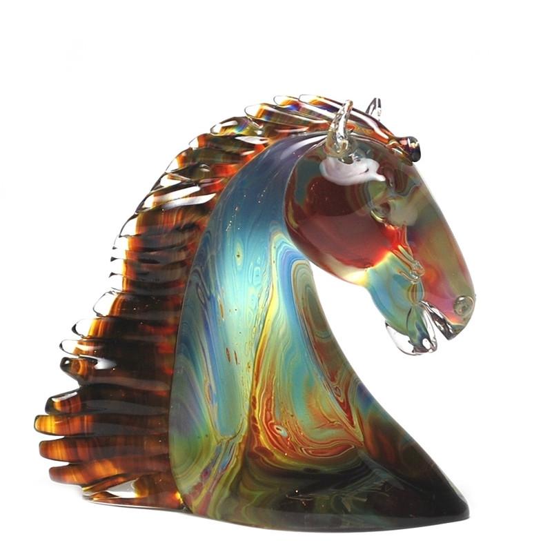Murano Glass Horse Head Calcedonia