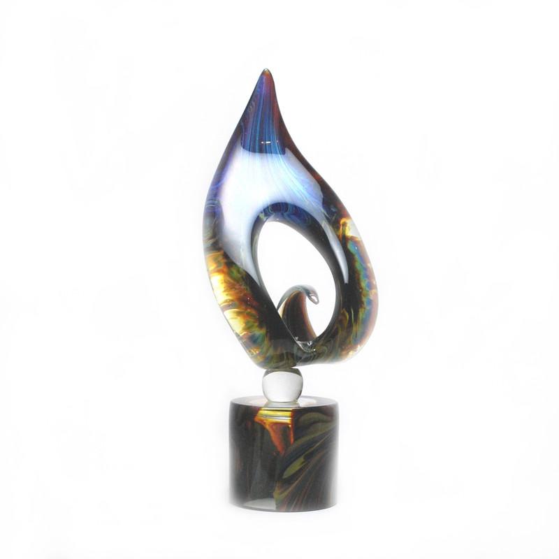 Murano Glass Orchidea Sculpture Calcedonia