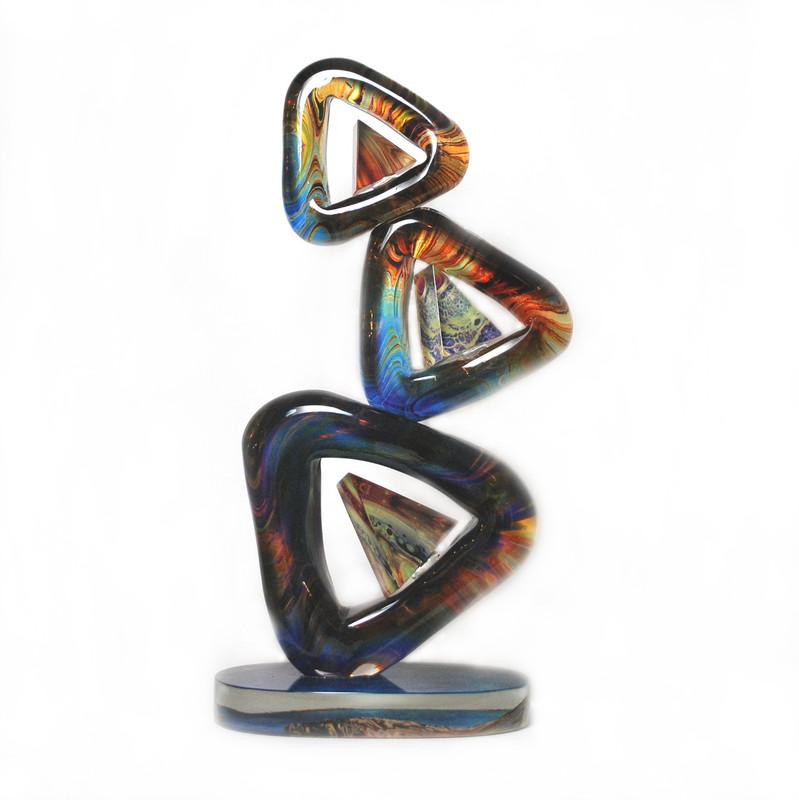 Murano Glass Triangolo Sculpture Calcedonia