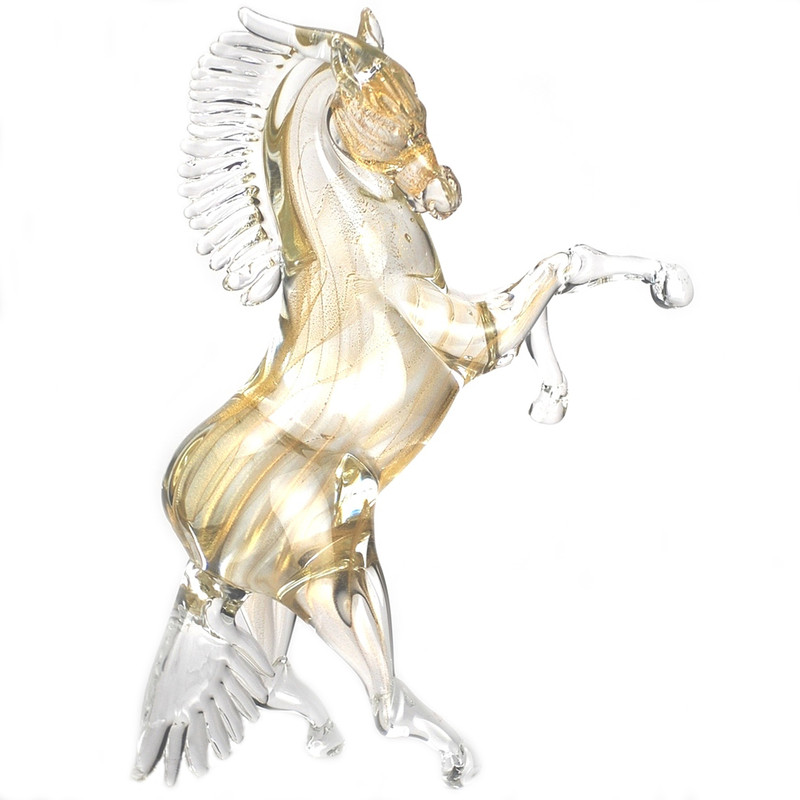 Murano Glass Rearing Horse Gold Large