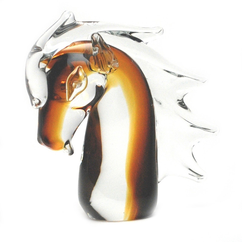 Murano Glass Horse Head Clear Amber