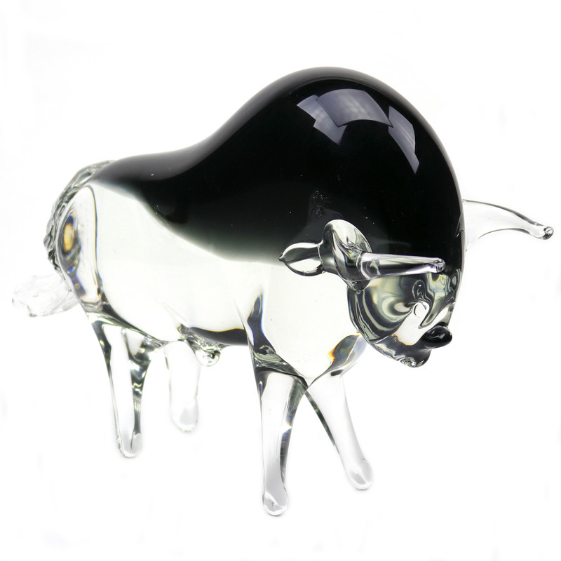 Murano Glass Bull Clear Smoke