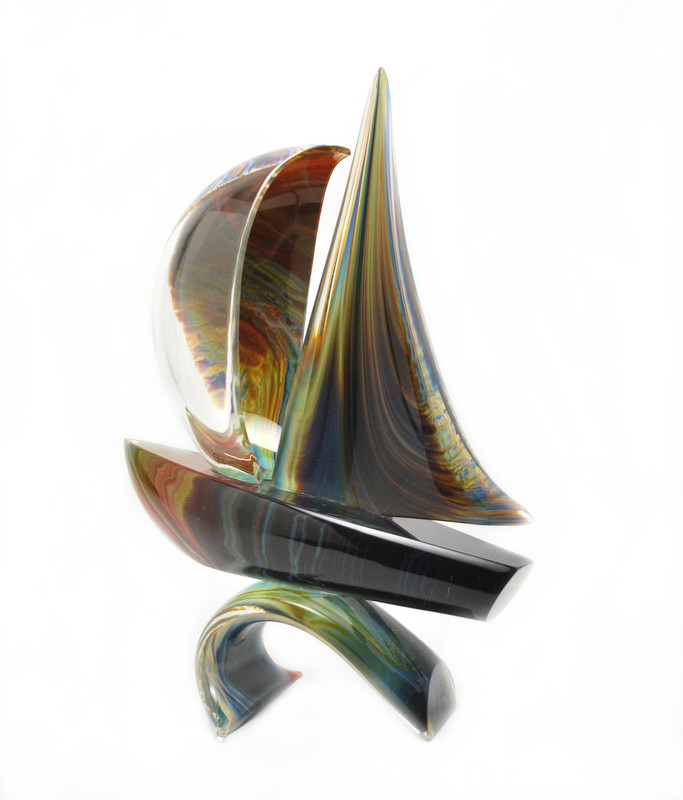 Murano Glass Sailboat on Wave Calcedonia