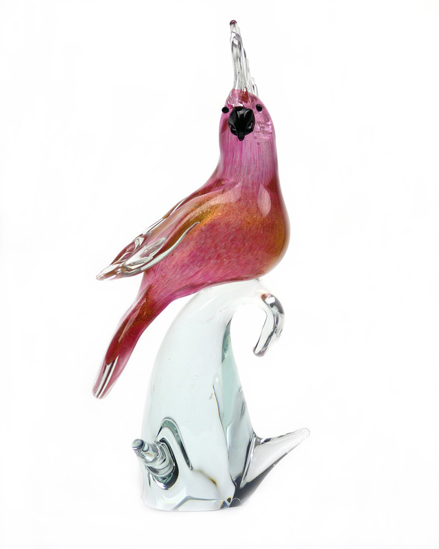 Murano Glass Cockatoo Ruby Gold Closed Wings