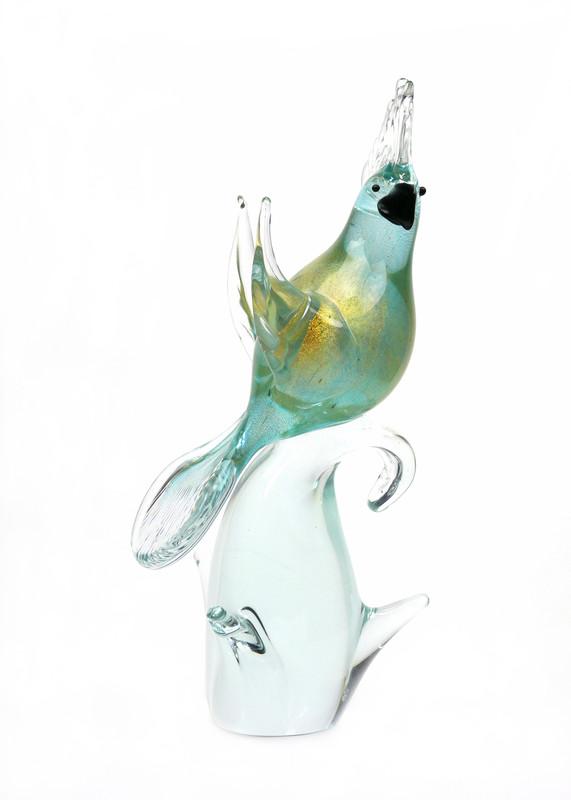 Murano Glass Cockatoo Aqua Gold Open Wings