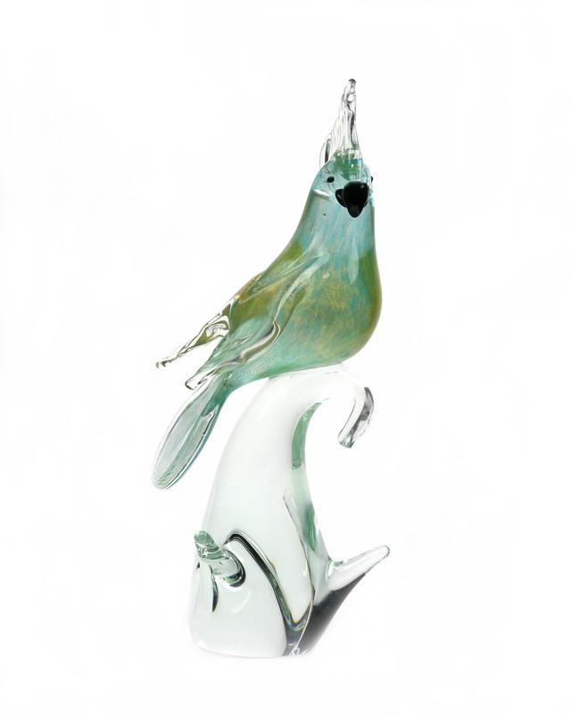 Murano Glass Cockatoo Aqua Gold Closed Wings