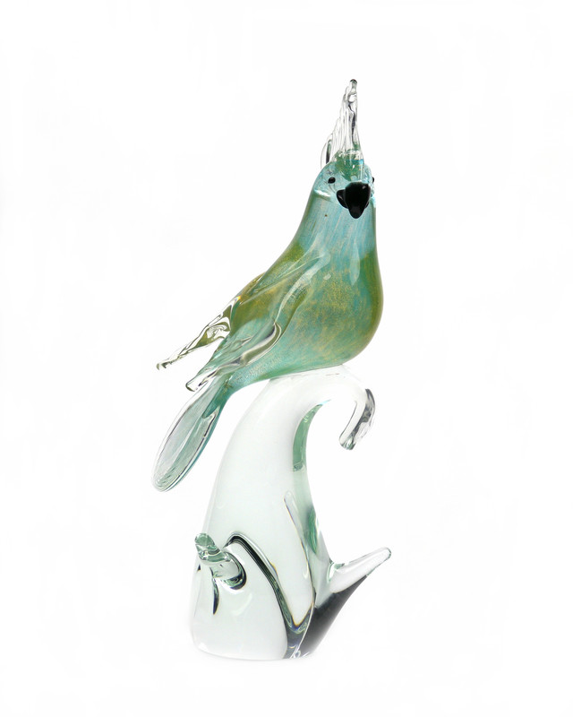 Murano Glass Cockatoo Aqua Gold Closed Wings