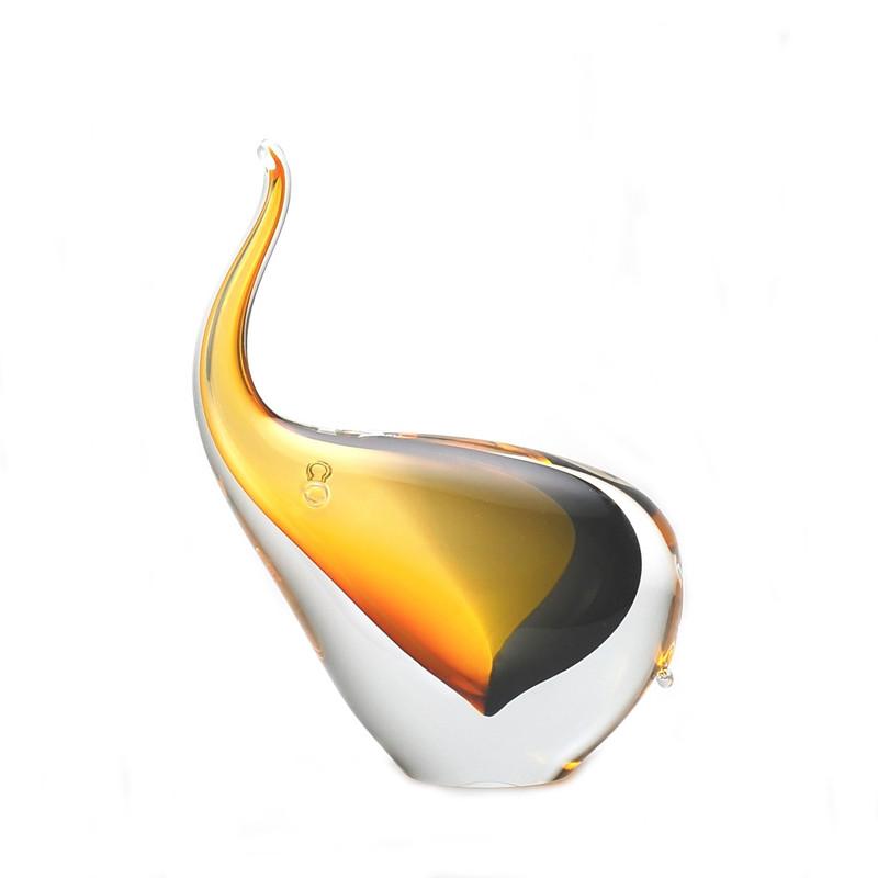Murano Glass Design Crystal Elephant Amber Smoke