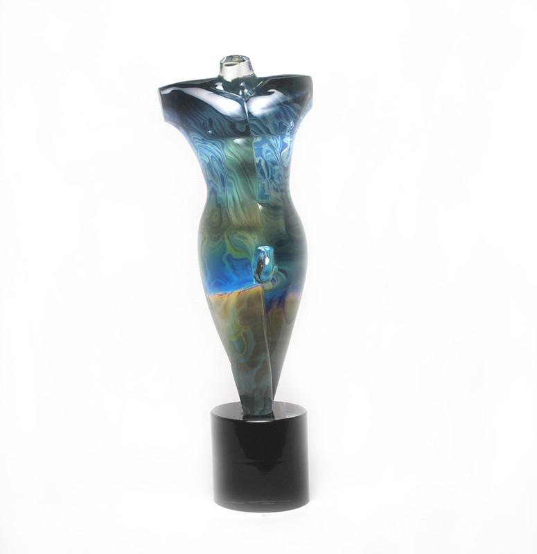 Murano Glass Male Torso Sculpture Calcedonia