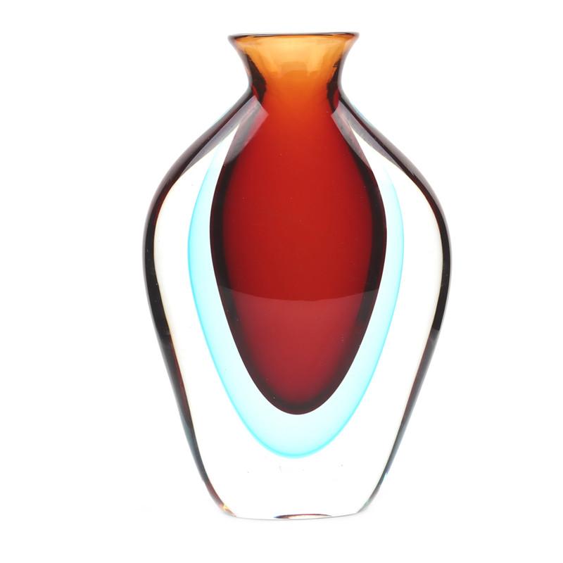 Murano Glass Imperial Vase Red Aqua
