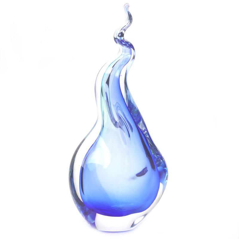 Murano Glass Abstract Sculpture Aqua Blue