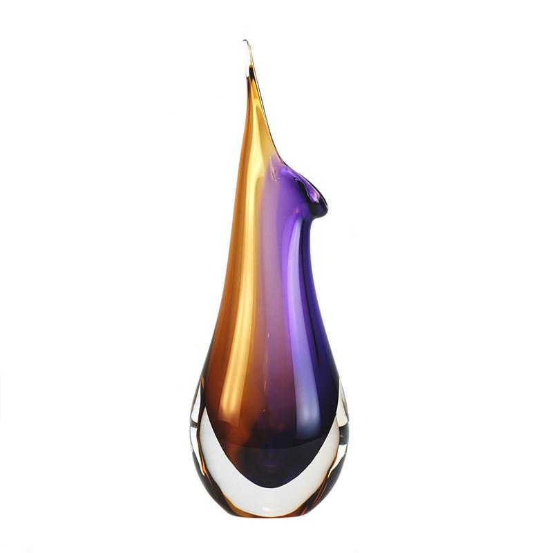 Murano Glass Design Crystal Tivoli Vase Topaz Amethyst