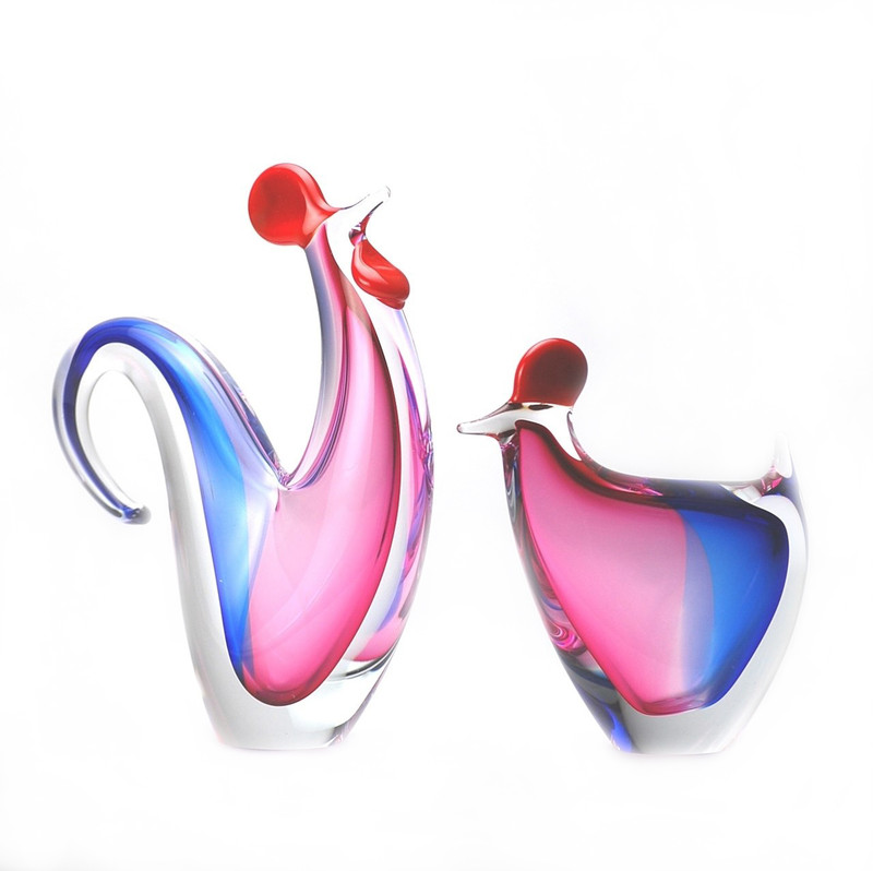 Murano Glass Rooster Hen Pair Blue Ruby