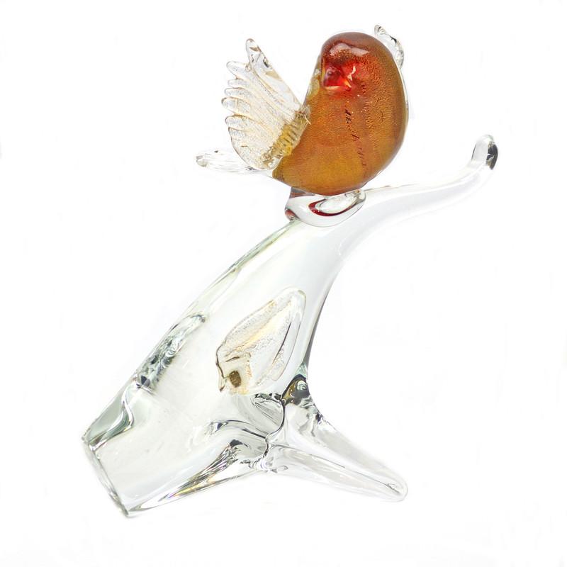 Murano Glass Bird on Branch Red Gold