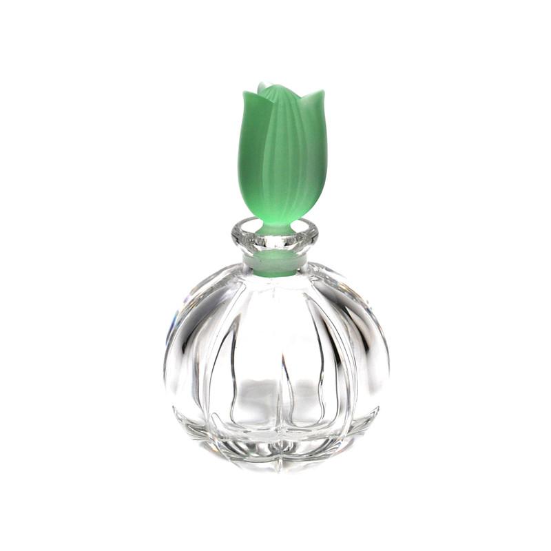 Tulip Crystal Perfume Bottle Green