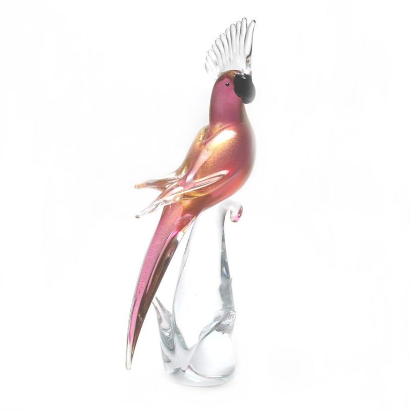 Murano Glass Parrot Ruby/Gold Closed Wings
