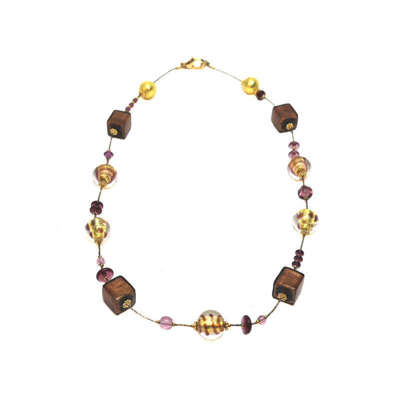 Murano Glass Fantasia Necklace Amethyst Gold