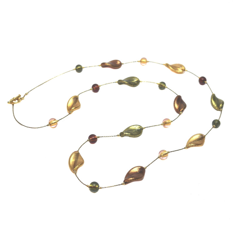 Murano Glass Bella Necklace Long Amethyst Gold